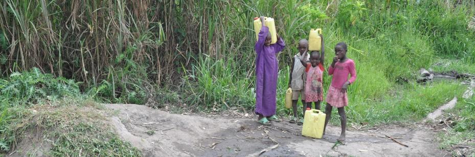 Uganda kids bring jerry cans to the spring for water.