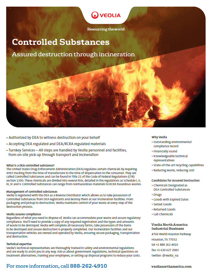 Controlled Substances for Incineration